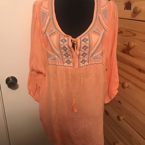 Peach/pink embroidered blouse